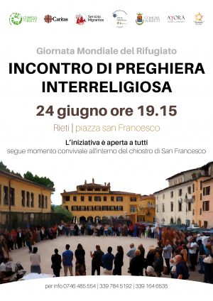 Incontro di preghiera interreligiosa. Giornata Mondiale del Rifugiato / Locandina
